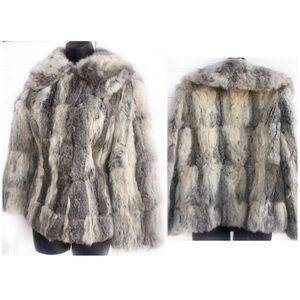Luxurious Gray White Genuine Rabbit Fur Coat XS
